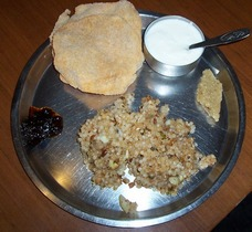 sabudana khichdi and papad