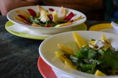 Pear, rocket, and beetroot