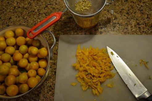 prepping for calamondin marmalade